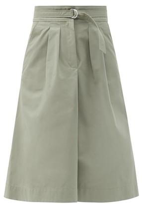 A.P.C. Caroline Belted Cotton-blend Gabardine Midi Skirt - Green