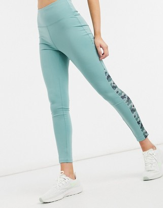 South Beach fitness side panel print legging in blue