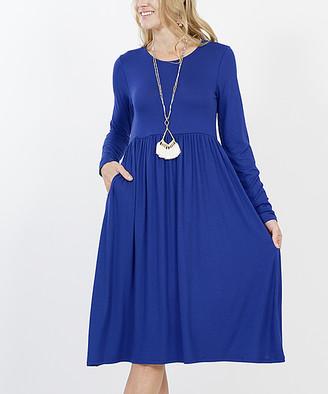 Lydiane Women's Casual Dresses DENIMBLUE - Denim Blue Long-Sleeve Empire-Waist Dress - Women