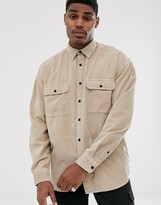 Asos Design DESIGN oversized cord shirt with double pockets in brown