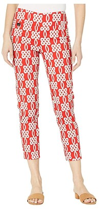 Lisette L Montreal Maritime Print Pull-On Ankle Pants with Back Slits (Red) Women's Casual Pants