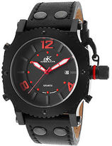 Adee Kaye AK6467MIPB-LB Men's Black Genuine Leather and Dial Red Accents