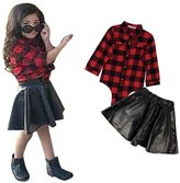 Malltop 1Set Baby Girls Outfit Long Sleeve Checked Shirt Tops+Short skirt