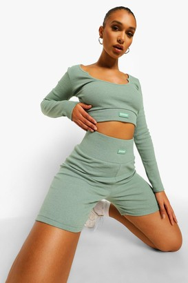 boohoo Premium Rib Long Sleeve Crop Top
