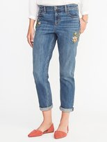 Old Navy Boyfriend Embroidered-Patch Straight Jeans for Women