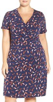 Adrianna Papell Plus Size Women's Print Faux Wrap Dress