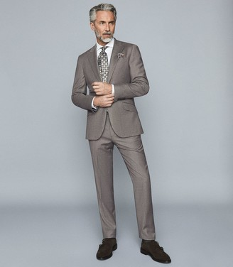 Reiss Milan - Wool Cashmere Puppytooth Slim Fit Trousers in Grey