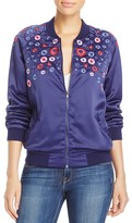 Aqua Floral Embroidered Bomber Jacket - 100% Exclusive