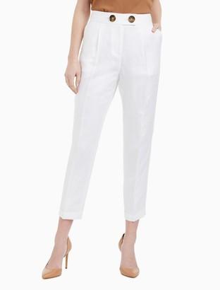Calvin Klein Linen Blend Button Ankle Pants