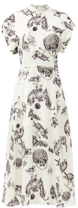 Raey Roll-sleeve Kitten-print Silk Midi Dress - Ivory Multi