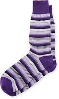 Bugatchi Striped Cotton-Blend Socks, Orchid