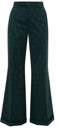 Gucci Gg Pinstripe Wool Twill Flared Trousers - Womens - Green Multi