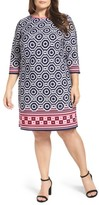 Eliza J Plus Size Women's Border Print Shift Dress