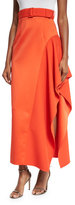 SOLACE London Kaya Draped Satin Skirt, Red-Orange