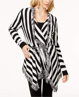 INC International Concepts Striped Fringe-Trimmed Cardigan, Created for Macy's