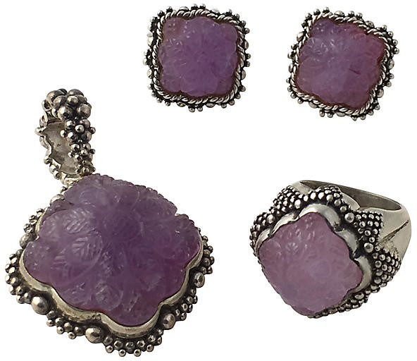 One Kings Lane Vintage Dweck Amethyst Earrings - Ring & Pendant - Owl's Roost Antiques