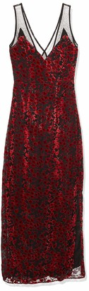 Lucca Couture Women's Penelope V Neck Mesh Inset Maxi Dress