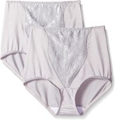 Bali Women's Shapewear Double Support Coordinate Brief with Lace Tummy Panel Light Control, Crystal Grey/Crystal Grey