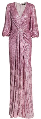 Jenny Packham Jacinta Split-Sleeve Knotted Sequin Gown