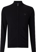 Gant Lightweight Cotton Zip Cardigan, Black
