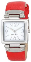 Nine West Women's NW/1589WTRD Rectangular Silver-Tone Case Red Strap Watch