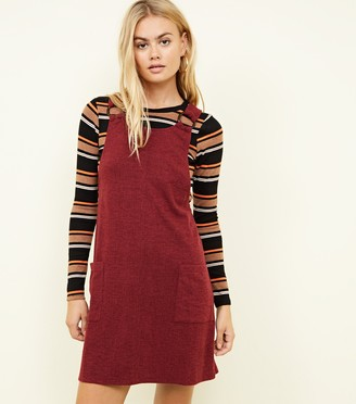 New Look Cross Hatch Round Buckle Pinafore Dress