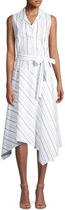 Lafayette 148 New York Dandy Striped Sleeveless Shirt Dress