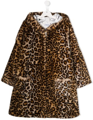 MonnaLisa TEEN leopard hooded coat