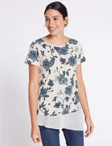Marks and Spencer Cotton Blend Floral Print T-Shirt