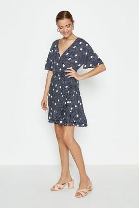 Coast Large Spot Wrap Mini Dress