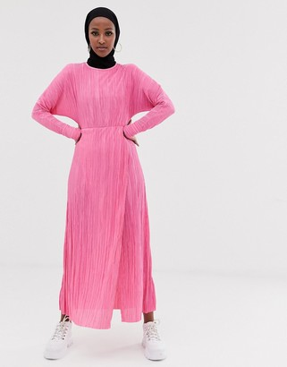 Asos Design DESIGN maxi plisse dress with draped waist-Pink