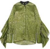 Petar Petrov Leather-trimmed Ruffled Silk-blend Lamé Blouse - Green
