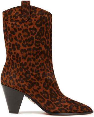 Aquazzura Leopard-print Suede Ankle Boots