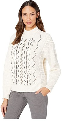 Vince Camuto Chain Trim Cable Stitch Mock Neck Sweater (Antique White) Women's Sweater