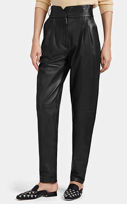 Alberta Ferretti Women's Leather Pleated-Front Pants - Black