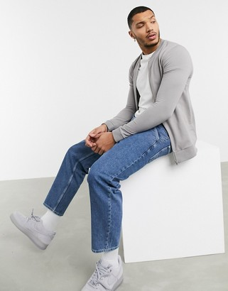 ASOS DESIGN muscle jersey bomber jacket in gray