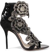 Sophia Webster Winona Embroidered Suede Sandals - Black