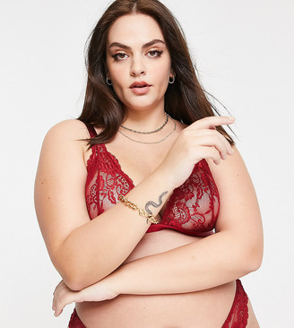 ASOS DESIGN Curve Arabella lace soft triangle in red