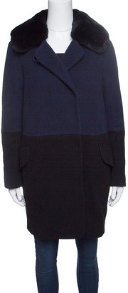 Paule Ka Navy Blue and Black Wool Rabbit Fur Collar Detail Coat S