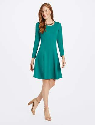 Draper James Long Sleeve Fit and Flare Ponte Dress