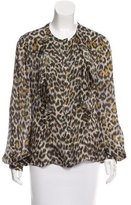 Carolina Herrera Silk Leopard Print Blouse