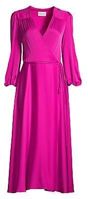 Milly Women's Gina Stretch Silk Midi Wrap Dress