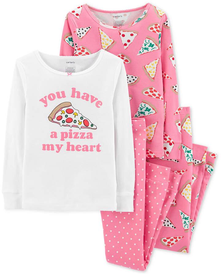Carter's Carter 4-Pc. Little Girls Pizza Graphic Cotton Pajamas Set