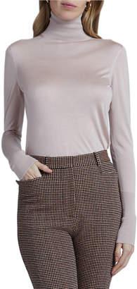 Victoria Beckham Silk Long-Sleeve Turtleneck Sweater