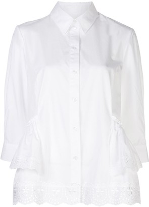 Simone Rocha Ruffle-Trimmed Scallop-Hem Shirt