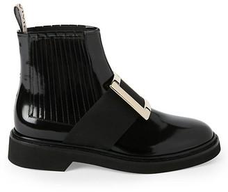 Roger Vivier Viv Rangers Patent Leather Chelsea Boots