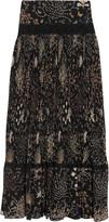 Chloé Lace-paneled pleated printed silk midi skirt