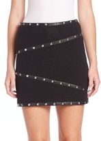 The Kooples Studded Leather-Trimmed Skirt