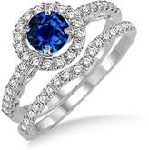 JeenJewels 1.5 Carat Sapphire and Diamond Antique Floral Halo Bridal set on 10k White Gold