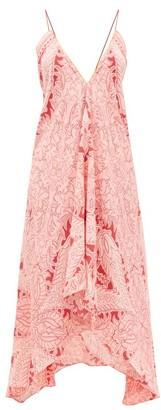 Etro V-neck Paisley-print Crepe Midi Dress - Womens - Pink Print